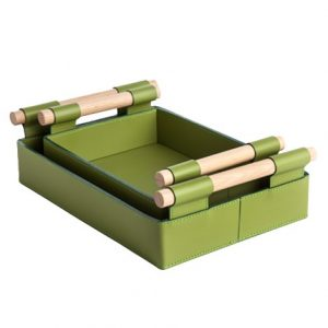 Handy Leather Serving Trays in Green