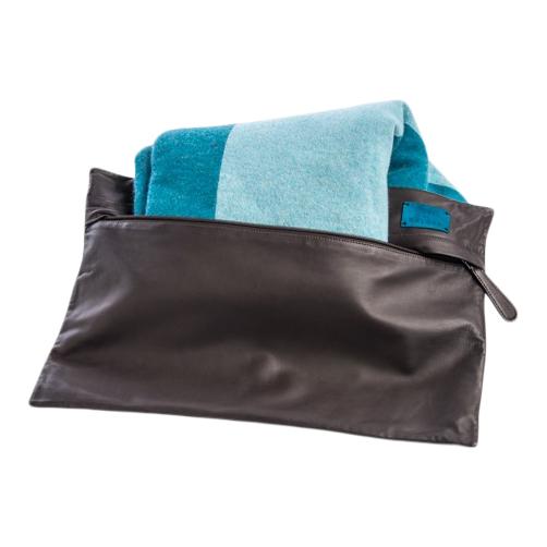 Travel Cashmere Throw Kit Blue/Brown