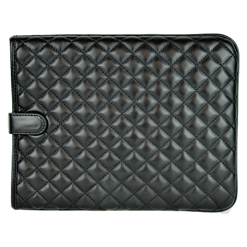 Quilted Leather iPad Case Black