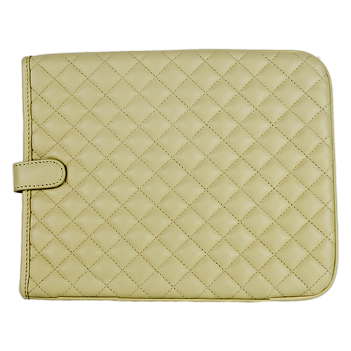 Quilted Leather iPad Case Ivory