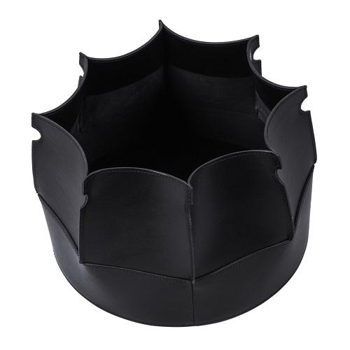 Muscari Leather Basket Black