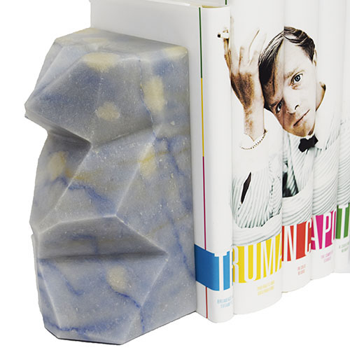 Marble Book Ends in Blue