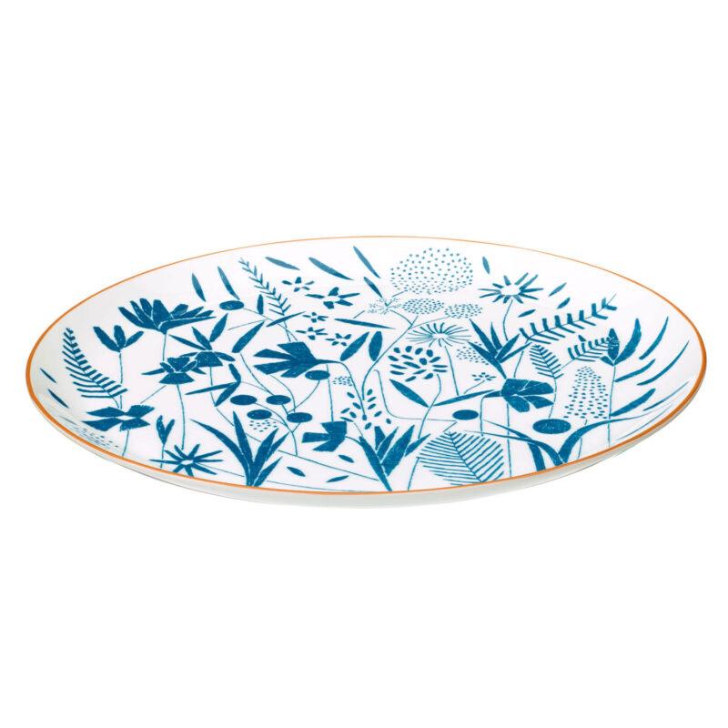 A Walk In The Garden Blue Tart Platter