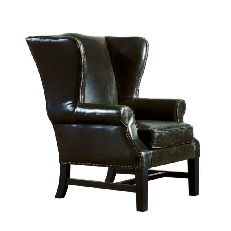 Black leather Ear Muffs Armchair