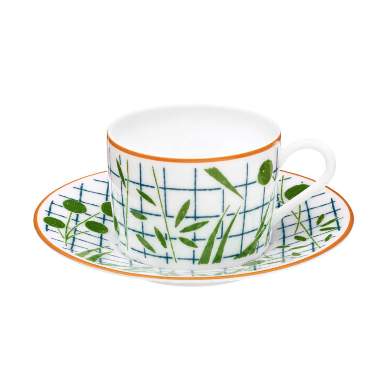A Walk In The Garden Green Tea Cup And Saucer