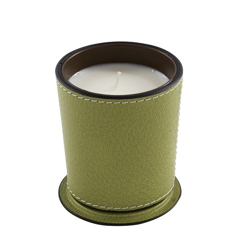 Green Leather Candle Holders