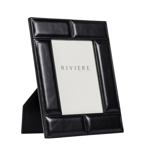 Black Stitched Padded Leather Frame