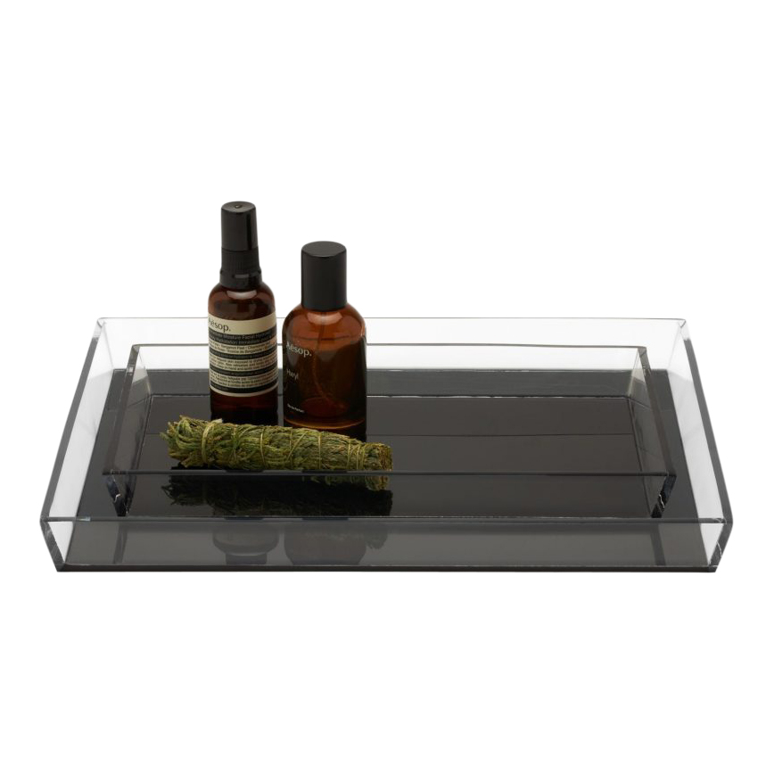 Monette Trays Clear/Acrylic Gray set of two