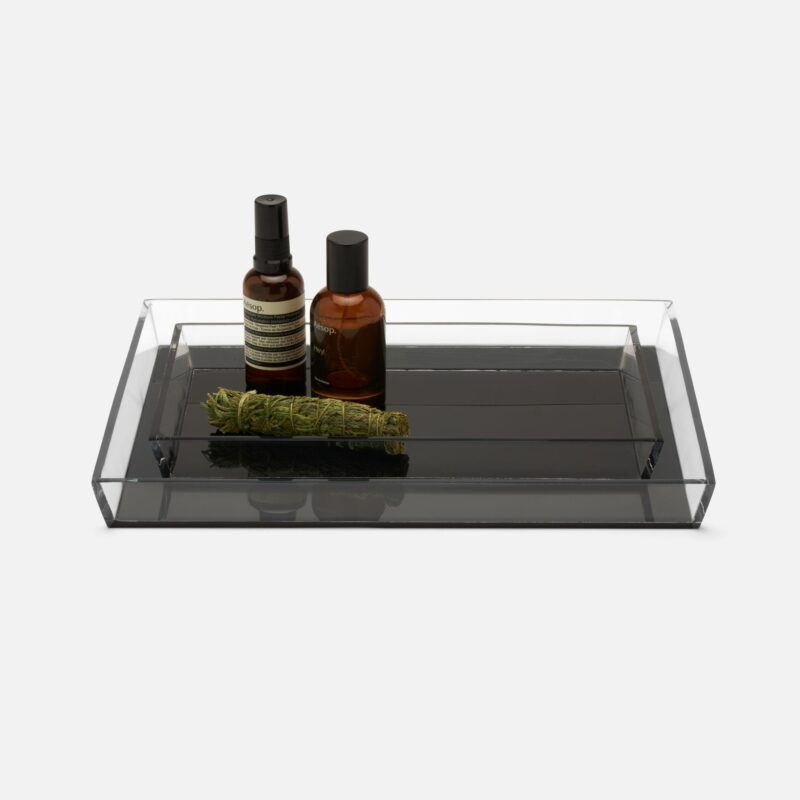 Monette Clear & Acrylic Gray Trays - Set of Two