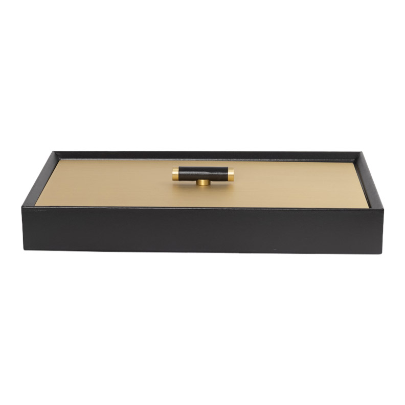 ISIDE RECTANGULAR BOX WITH SATIN BRASS LID LONDON