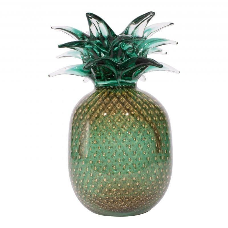 Ananas Grande Verde & Oro Glass Sculpture