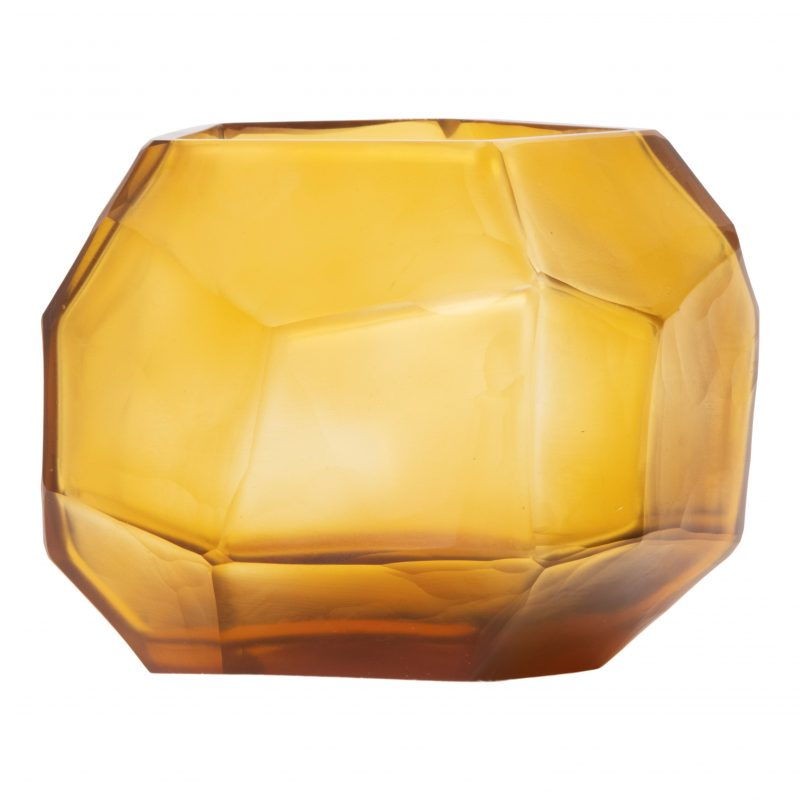 Clear & Gold Cubistic Round Vase
